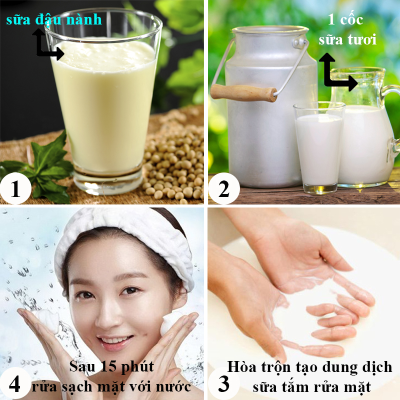 Làm trắng da mặt bằng sữa đậu nành và sữa tươi